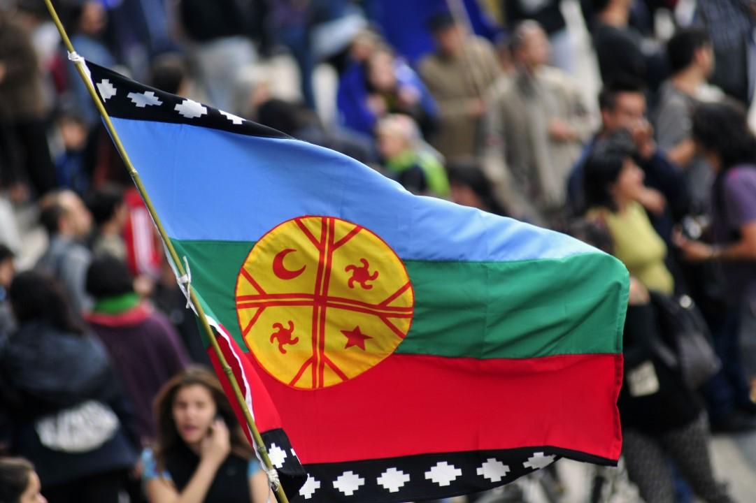 Bandera mapuche, creada en 1992.